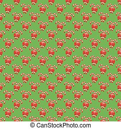 Seamless Christmas Pattern with Candy Cane Stick and Red Bow Iso