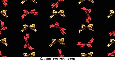 Seamless Christmas pattern with Christmas bows on a black background. Vector illustration