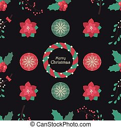 Seamless Christmas pattern with dark background and seasonal plants