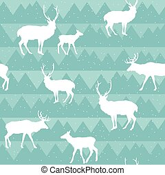 Seamless Christmas pattern with deer silhouettes