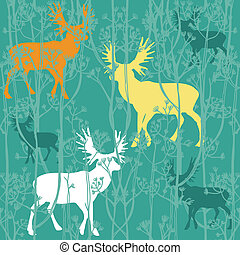 Seamless christmas pattern with deers in the forest