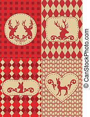 seamless christmas pattern with deers, vector set