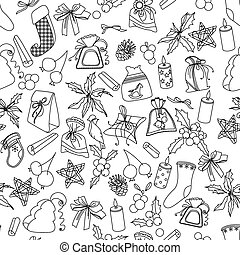 Seamless Christmas pattern with dif