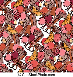 Seamless Christmas pattern with cinnamon, berries,fruits and chocolate. Endless texture for festive design