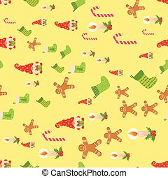 Seamless Christmas pattern with gnome, gingerbread, candle, stocking, candy cane. Wrapping paper