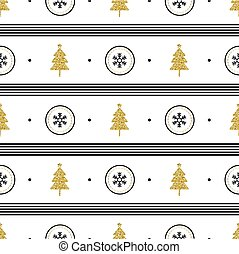 seamless christmas pattern with gold glitter pine tree and snowflake in polka dot on white pattern background