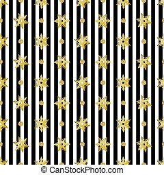 seamless christmas pattern with gold glitter snowflake and dot on stripe background