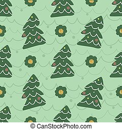 seamless christmas pattern with green pine tree and gold dot glitter on green background