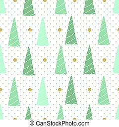 seamless christmas pattern with green pine tree and gold dot glitter on polkadot background