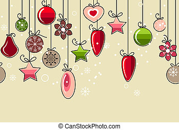 Seamless christmas pattern with hanging decoration