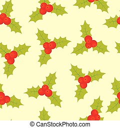 Seamless christmas pattern with holly berry