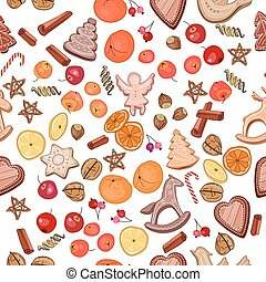 Seamless Christmas pattern with mandarines, cookies and...
