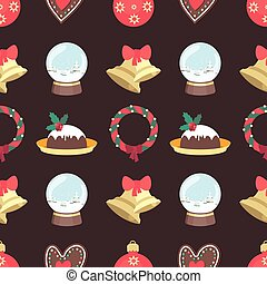 Seamless Christmas pattern with various elements on dark background