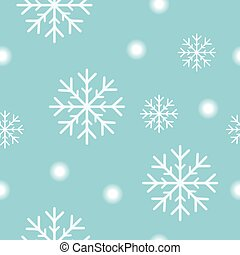 Seamless christmas pattern with white snow flakes and snow balls on turquoise blue christmas background Simple retro style design for wrapping paper, prints, scrapbooking, Vector eps10