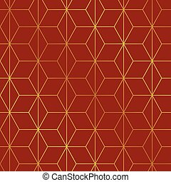 Seamless Christmas red and gold wrapping paper pattern. Christmas lattice trellis pattern background.
