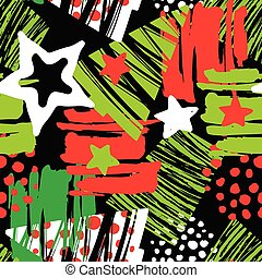 Seamless Christmas repeating hand craft expressive ink pattern.