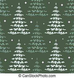 seamless christmas season with neon pine trees pattern background