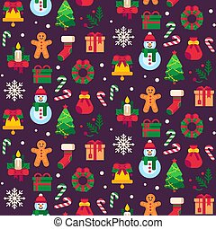 Seamless christmas symbols. Xmas green tree, gift toys or holidays sweets and traditional gingerbread man pattern vector background