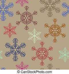 Seamless christmas texture with colored snowflakes on a beige background