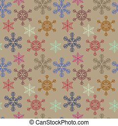 Seamless christmas texture with snowflakes on beige background