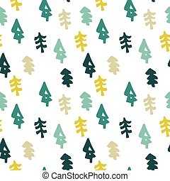 Seamless christmas tree pattern in flat style