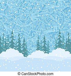 Seamless, Christmas Trees and Snow