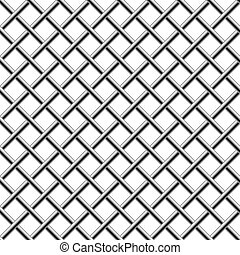 Seamless chrome braided diagonal grille isolated on white.