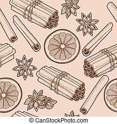 Seamless cinnamon - Hand drawn seamless background with ...