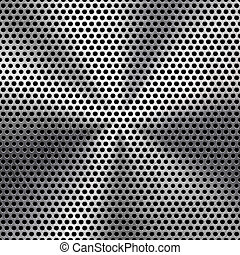 Technology background with seamless circle perforated metal (chrome, iron, stainless steel, silver) speaker grill texture for internet sites, web user interfaces (ui) and applications (apps). Vector Pattern