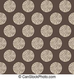 Seamless circles stump pattern, vector brown illustration