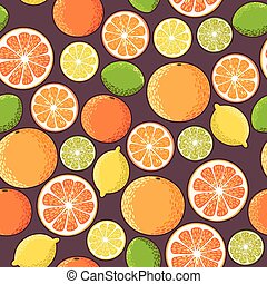 Decorative colorful citrus slices vector seamless background