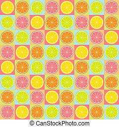 Colorful seamless retro pattern with citrus theme