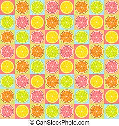 Seamless citrus pattern - Colorful seamless retro pattern...