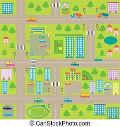 seamless, città, cartone animato, mappa