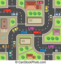 Seamless city map. Top view building and street with cars and trucks. Urban plan vector endless texture