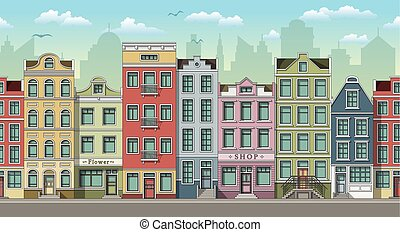 Seamless cityscape background with classic houses
