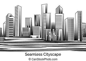 Seamless Cityscape Engraving. Business city of skyscrapers...