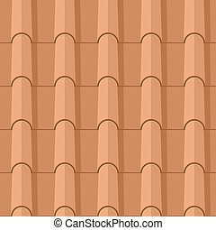 Seamless clay roofing tile flat vector texture.