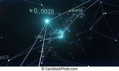seamless., clignotant, réseau, 3840x2160, lights., indicateurs, ultra, business, 3d, économique, hd, en mouvement, 4k, fait boucle, croissant, animation, lines., beau, cyberespace, concept., résumé, nombres