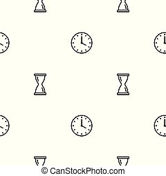 Seamless clock icons pattern on white background