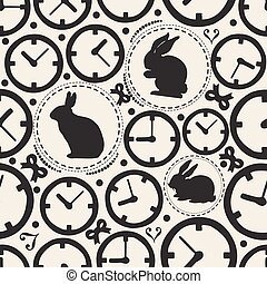 SEAMLESS CLOCK WITH RABBIT PATTERN BACKGROUND , WONDERLAND THEME
