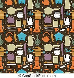 seamless, cocina, patrón, ilustración