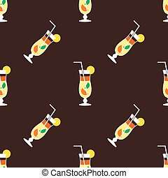Seamless cocktail pattern on a brown background