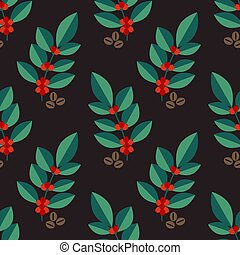 Seamless coffea pattern - Seamless coffe plant vector...