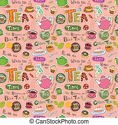 Seamless coffee and tea pattern