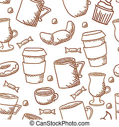 Seamless coffee cups and mugs pattern