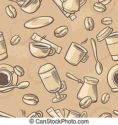 Seamless Coffee Pattern hand drawn vintage vector illustration.