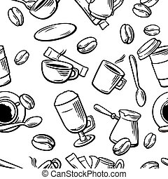 Seamless Coffee Pattern hand drawn vintage vector illustration.