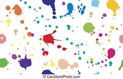 seamless, coloré, blots, modèle, splashes., illustration, vecteur, encre, beau, isolated.