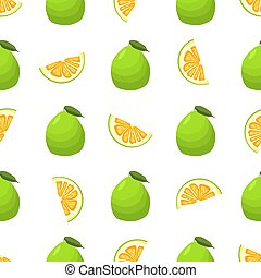 seamless, coloré, illustration, thème, pomelo, grand